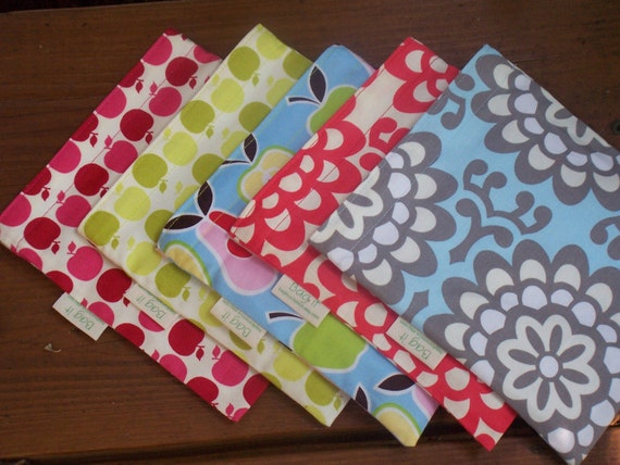 Two  sandwich and two snack bags - Reusable sandwich bag - Reuse snack bag - Create your own sets with fabrics in this listing