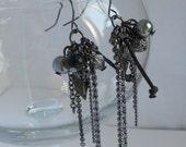 Crystallized Swarovski Cluster dangle earrings in Black Diamond - FINAL SALE