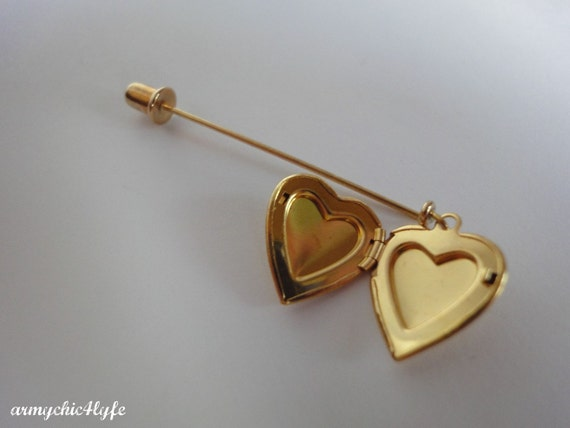 Vintage Goldtone Dangle Locket Heart Stick Pin NOS