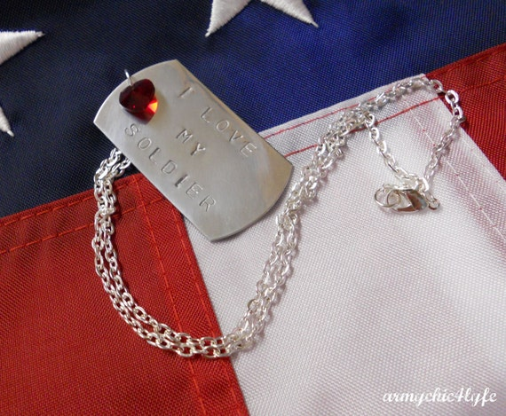 I Love My Soldier stamped dog tag necklace with crystallized swarovski heart
