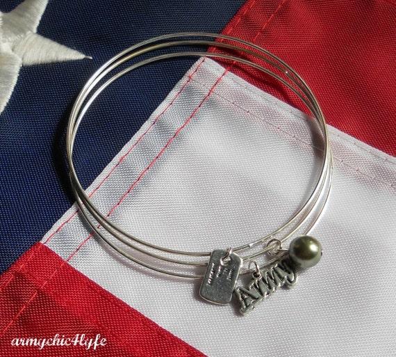 Army Themed Set of 3 Upcycled Bangle Bracelets - SHOP CLOSING SALE