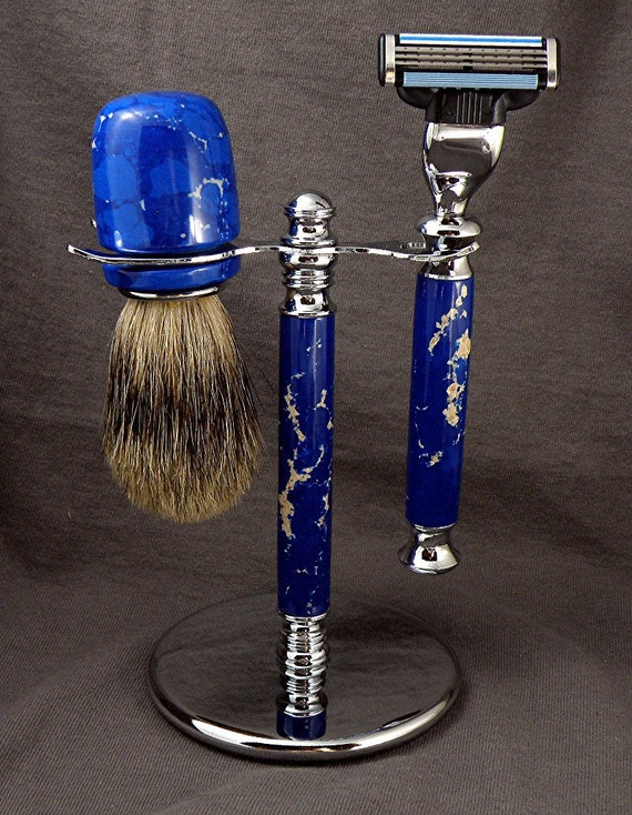 Blue Lapis with Cream Shaving Set