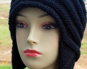 PDF KNITTING PATTERN, Earflap Cap with I-cord, Teen to Adult Size, Womens Winter Hat, Aviator Hat, Instant Download