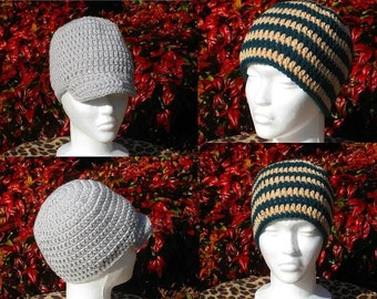 Instantly Downloadable PDF CROCHET PATTERN Beanie/Visor Beanie, Teen-Adult, Hatband Circumference 20 inches Digital Pattern