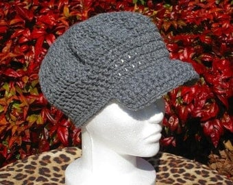 Instant Download PDF CROCHET PATTERN Newsboy Cap Beanie, Teen to Adult, Hatband Circumference 20 inches Digital Pattern