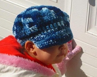Instant Download PDF CROCHET PATTERN Newsboy Cap, Hatband Circumference 17.5 inches Fits 1-3 years and 19 inches Fits 3-10 years
