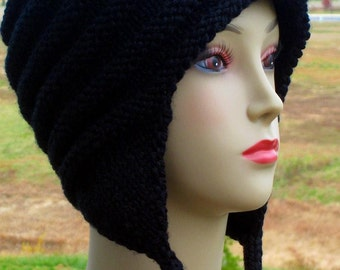 PDF KNITTING PATTERN, Earflap Cap with I-cord, Teen, Adult Ear Flap Hat, Winter Accessories, Instant Download