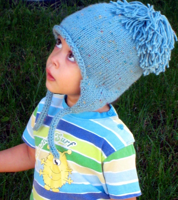 PDF KNITTING PATTERN Shaggy Top Earflap Cap, Pom Pom Ear Flap Hat, 2 to 5 Years, Winter Accessories, Instant Download