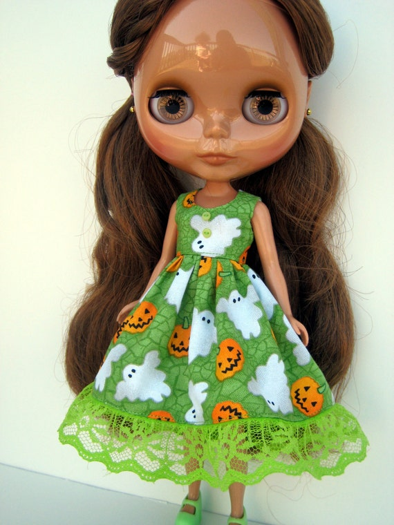 Halloween Sleeveless Dress for Blythe, White Ghosts, Orange Black Pumpkins Lime Green Lace Spooky