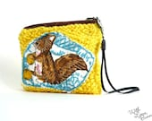 SALE - Little Sweet Squirrel Pouch - Tiny Woodlander - Hand Knitted - Handmade in USA