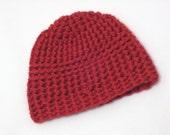 Handmade Boys Deep Red Crochet Beanie