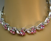 Vintage Necklace Choker Aurora Borealis Pink Rhinestone Clusters 33 Crystal Little Bouquets Silver Leaves