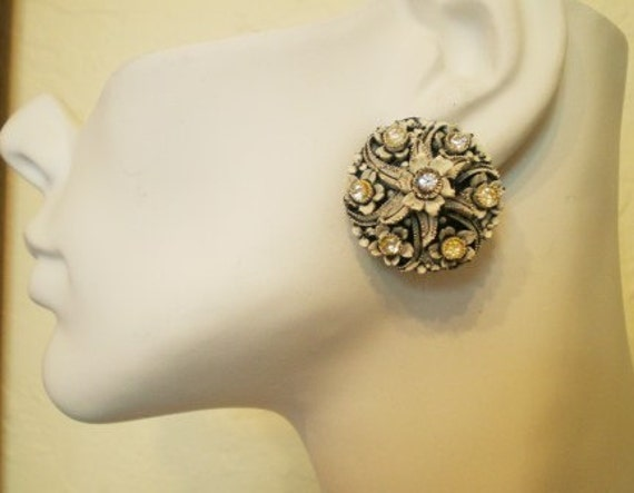 NOT 4 Sale on hold Antique Vintage Earrings  40s Celluloid Carved FlowerRhinestones White Blk Accents