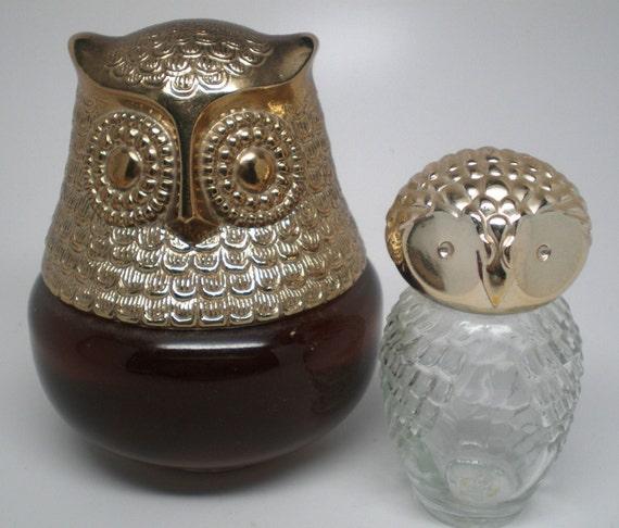 Vintage Owl Avon Glass Bottles Of Cologne Raining Violets Still Full Plus A Little Hootie Owl Collectible