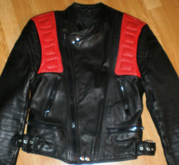 Vintage Motorcycle Jacket 90s Black an Red by Futter Polyamide