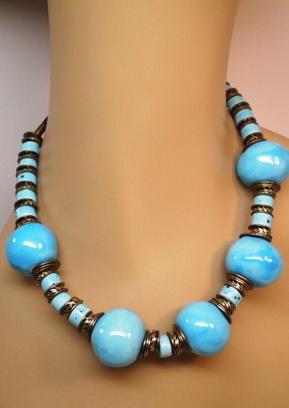 Vintage Necklace Big n Chunky Ceramic Aqua Beads Multiple Copper Spacers BoHo Hippi Summer Sale