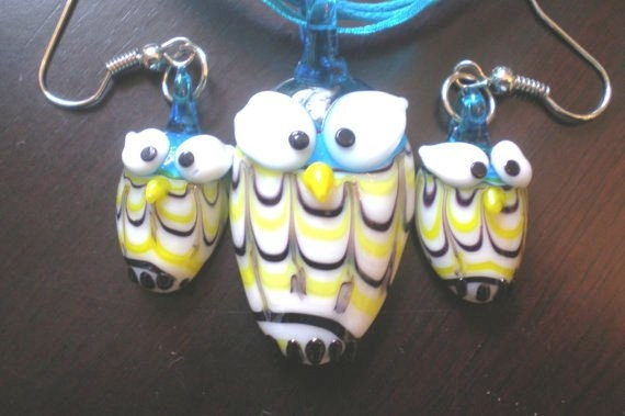 Owl Necklace an Earrings Handmade Lampwork Glass Beads Cute Hooties Rayon Ribbon or Gold Tone Chain