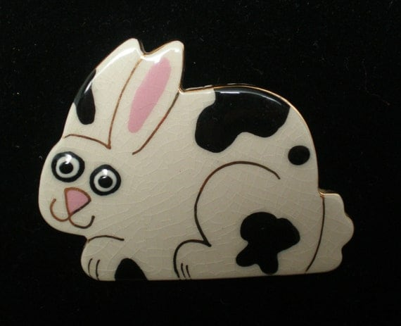 Vintage Brooch Pin Ceramic Bunny Rabbit Black an White Glazed Porcelain Easter Statement
