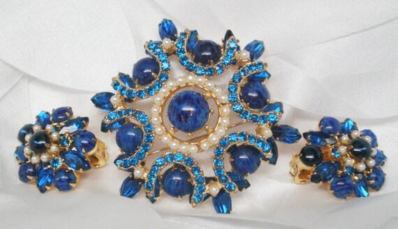 Antique Brooch Earrings Set Royal Blue Pronged Lapis Rhinestones Pearls Statement