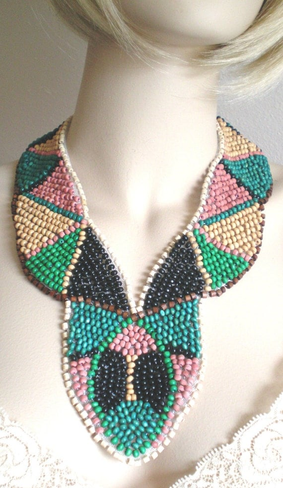 Bib Necklace 70s Style Handmade Beadwork Bib In Vogue Now Coral Aqua Tan Green Black Brown Muted Colors OOAK Free Ship US