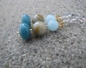 Sterling Silver Earrings from sky blue Jade, Amazonite, Aquamarine & Swarovski Crystal