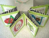 Personalized cloth  alphabet  book his name  in apple green