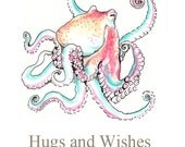 Hugs and Wishes Get Well Good Luck Octopus Card