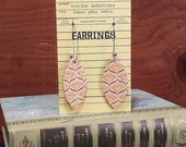 Book Club Earrings  made from real vintage book covers OBLONG genie 2 in orange