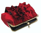 Ruffle Silk Dupioni Clutch In Black Cherry-Bridal Clutch-Bridesmaid Clutch
