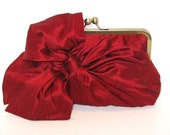 Silk Bow Clutch,Bags And Purses, Bridal Accessories,Red Clutch,Bridal Clutch,Bridesmaid Clutch,Bridesmaid Gift,