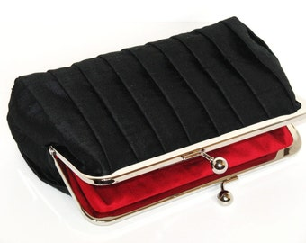 Pleated Silk Wedding Clutch Black,Bridal Accessories,Bridal Clutch,Bridesmaid Clutch,Formal Clutch
