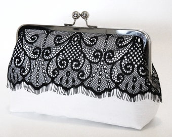 Victorian Eyelash Clutch In Black And White,Bridal Accessories,Wedding Clutch,Bridesmaid Clutch