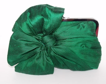 Silk Bow Clutch Emerald Green,Bridal Accessories,Bridal Clutch,Bridesmaid Clutch,Clutch Purse,Formal,Holiday Clutch
