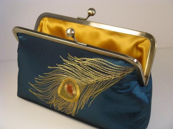 Golden Peacock Silk Lined Clutch Purse