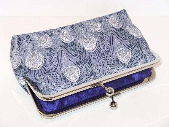 Liberty Peacock Clutch-Mauve and Ivory-Peacock Clutch-Bridesmaid Clutch-Mother Of The Bride Clutch