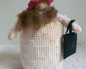 Mrs. Snowman Repurposed vintage linens and button Fur wrap Carrot nose Christmas ornament Holiday collectible