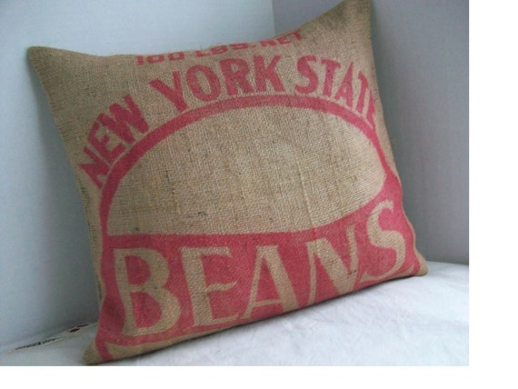 Throw Pillow Vintage Burlap Bean Sack Red Graphics