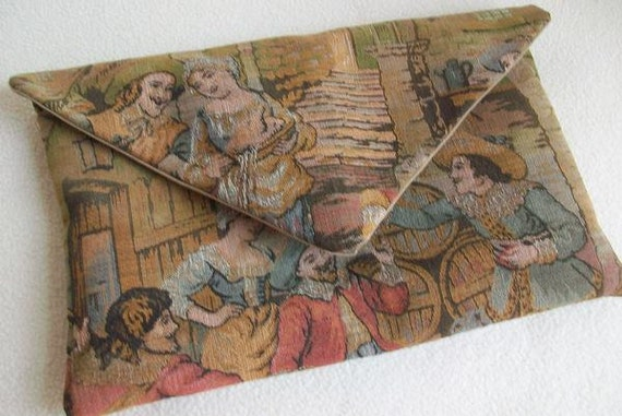 Reclaimed Vintage Tapestry Clutch Purse Gadget Pouch Eco Friendly