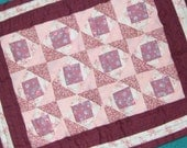 MINIATURE Hand Quilted, 9X12 Inch, Pinks,Traditional Design, Americana, Square In Square, Mat, Wall Art, Mother Gift. Doll Bed, Collectable