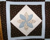 QUILT Hand Appliqued, Hand Quilted, Wall Hanging, Browns Blues, 23 X 23 Table Office Dorm Loft, Table Cover, Orginial Design, GA Made
