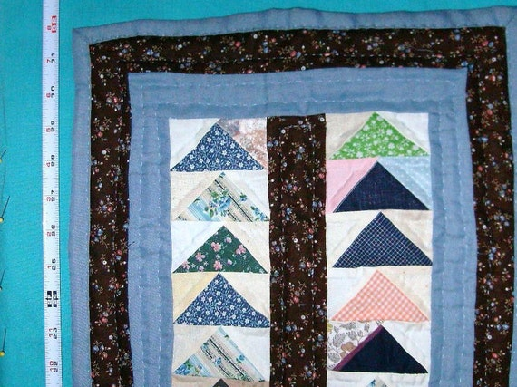 LITTLE QUILT  Flying Geese Design, Traditional Hand Quilted, Blue, Brown Scrappy, Table Mat, Hanging Office Decor