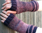 The Tweed Effect Take Two - Plum Crocheted Fingerless Gloves