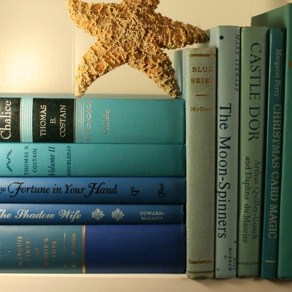 vintage beachy bright blue book set