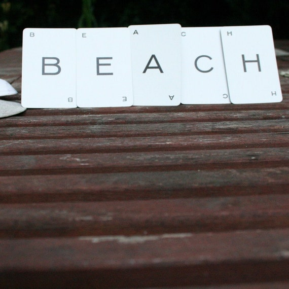 beach home decor vintage game card letters typography