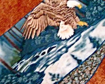 Sale Northwoods Eagle cabin Reversible table runner, Soaring Eagle, quality cotton fabrics, 12x44inches