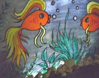 Original Fantasy Fishtank, Nightlight, stained glass look painting w/mounted seashells on vintage window