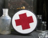 Red Cross Embroidery Hoop Wall Decor
