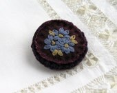 Forget Me Not Fabric Brooch Hand Embroidered on Plum Linen