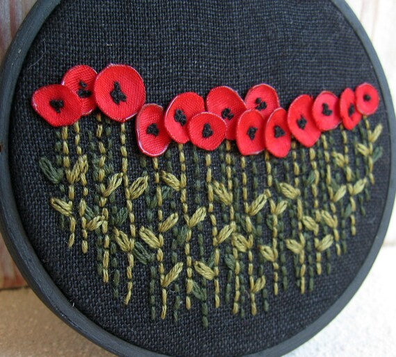 Red Poppies Hand Embroidered Wall Decoration