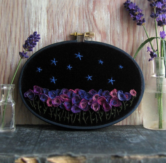 Midnight Garden Hand Embroidered Wall Art in 3 x 5 inch oval hoop